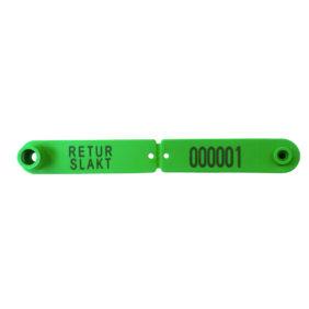Foto: Combi Signal grønt øremerke for returslakt